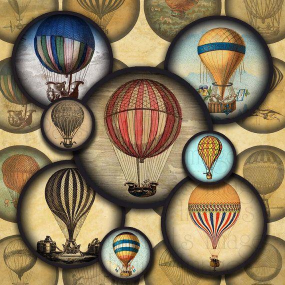 """Steampunk Digital Collage Sheet- Hot Air Balloon .6"""" minis"""