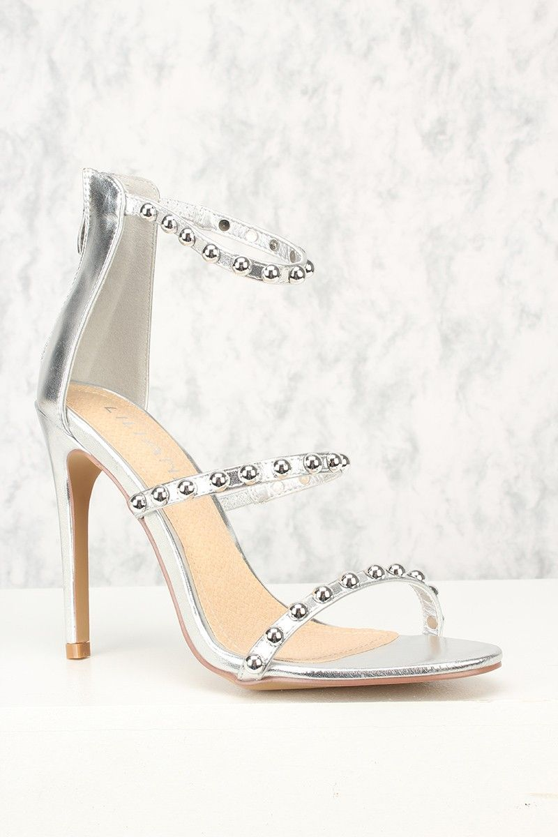 c8371eb3d7e7 Sexy Silver Strappy Single Sole Sandal High Heels Faux Leather ...