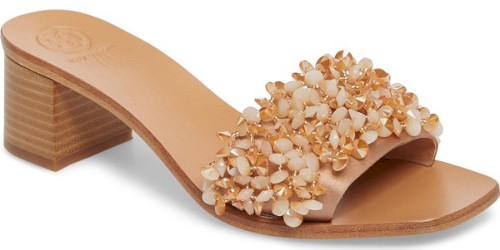 fe39d0cfe606e Tory Burch Logan Embellished Slide Sandal in Pink. A garden of multihued  beads blooms charmingly across the front of an updated slide sandal styled  smartly ...