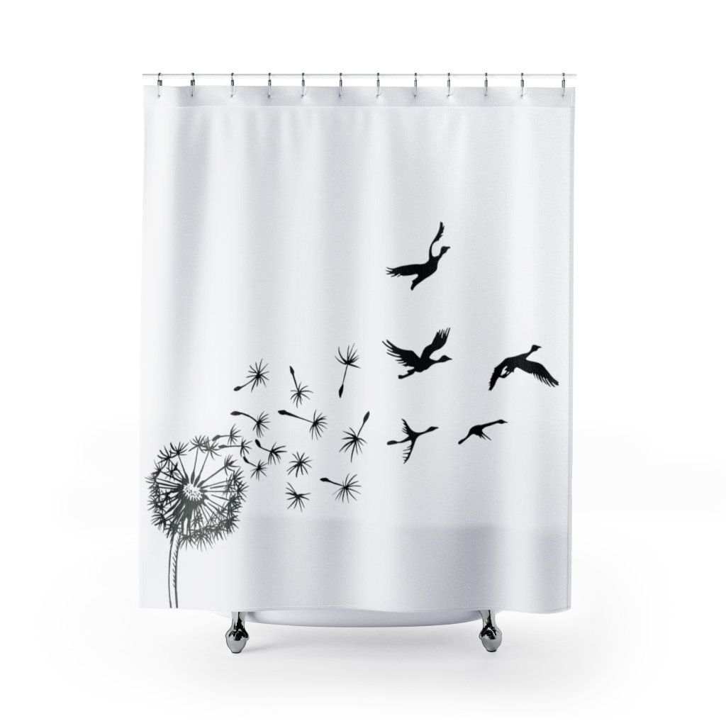 Dandelion And Birds Shower Curtain Dandelion Shower Curtain Etsy In 2020 Bird Shower Curtain Curtains Bath Decor