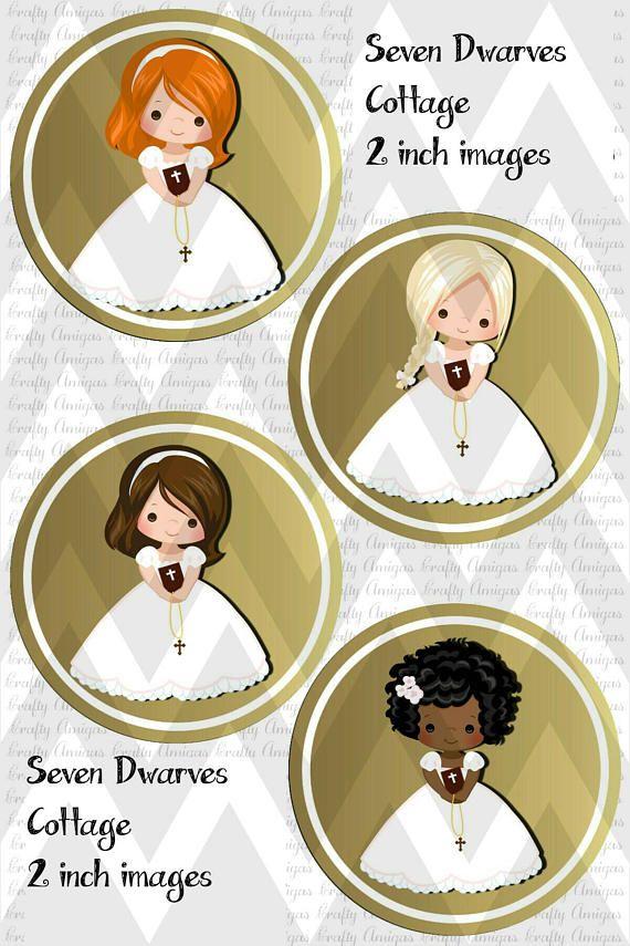 c1f7c97a93c Primera comunión niñas 2 pulgadas Cupcake Toppers archivo