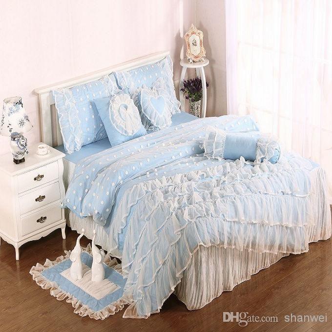 Cheap Bedspread Best Light Blue Cotton Satin Princess Lace Girl Duvet Online With 130 3 Dhgate Cheap Bed Linen Bedding Sets Full Size Duvet Cover