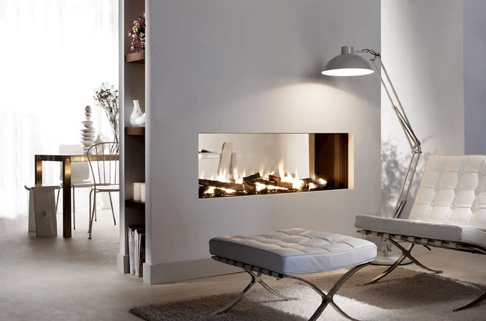 Statuette of Double Sided Gas Fireplace: Warmer, Unique Room ...
