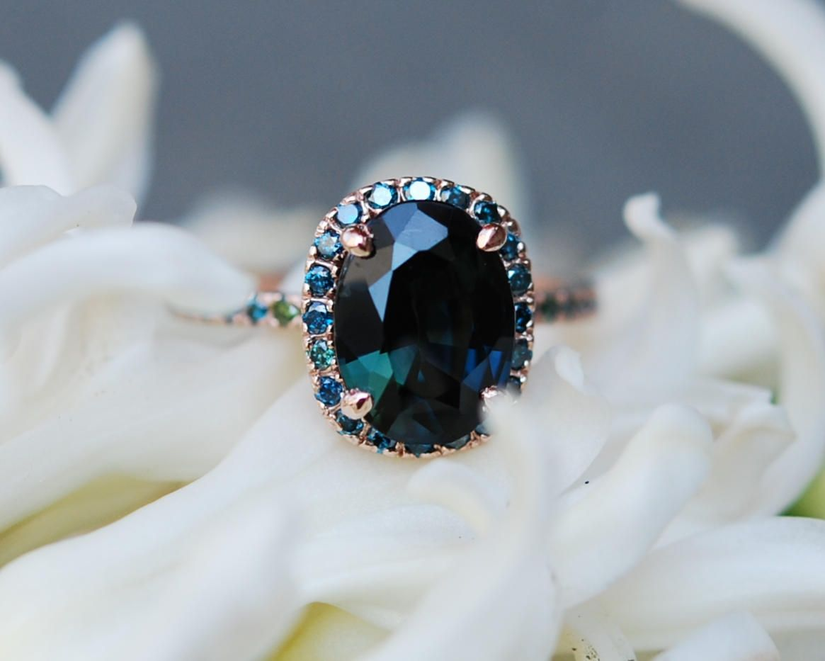 blue in round accents with white sapphire lab ring willow engagement rings gold green emerald