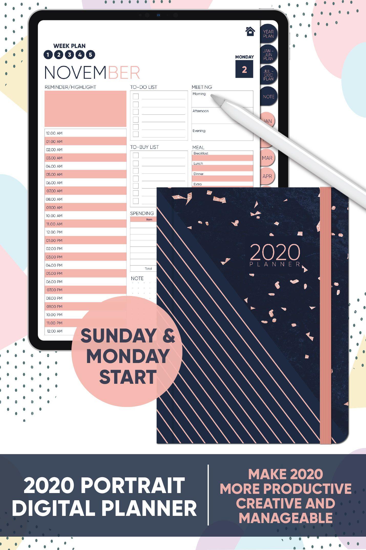 2020 Portrait Planner Digital In 2020 Digital Planner Planner Digital Sticker