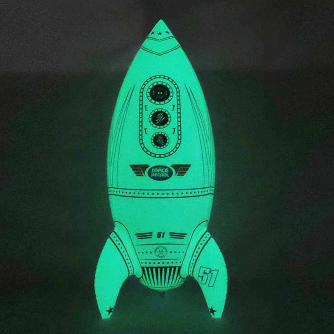 Inflatable 30 inch Tall Glow in the Dark Giant Rocket Space Decoration Party