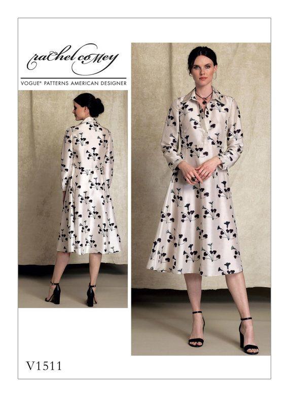 Vogue Muster V1511 Misses halbe Knopfleiste lange Ärmel | Sewing ...