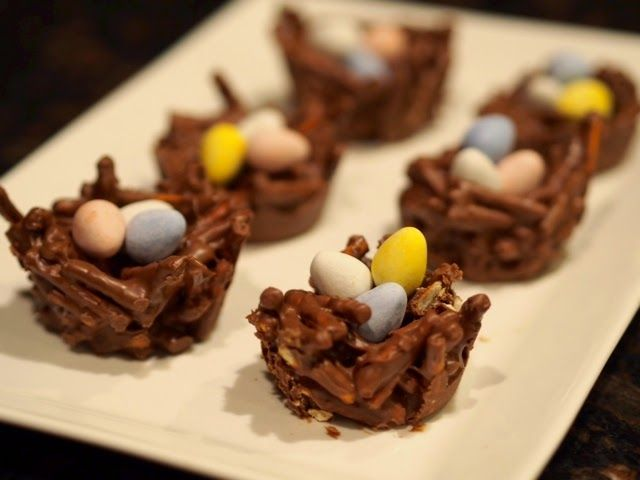 chocolate bids' nests recipe for Easter.