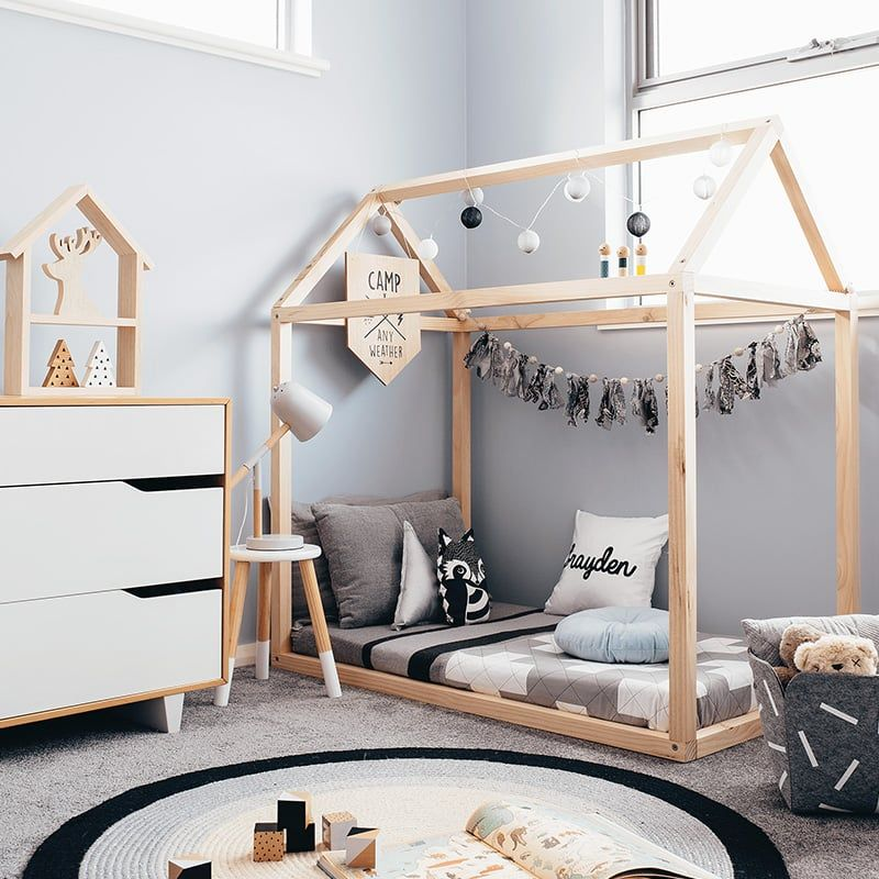 Toddler House Bed Frame In 2020 Toddler House Bed House Frame Bed House Beds For Kids