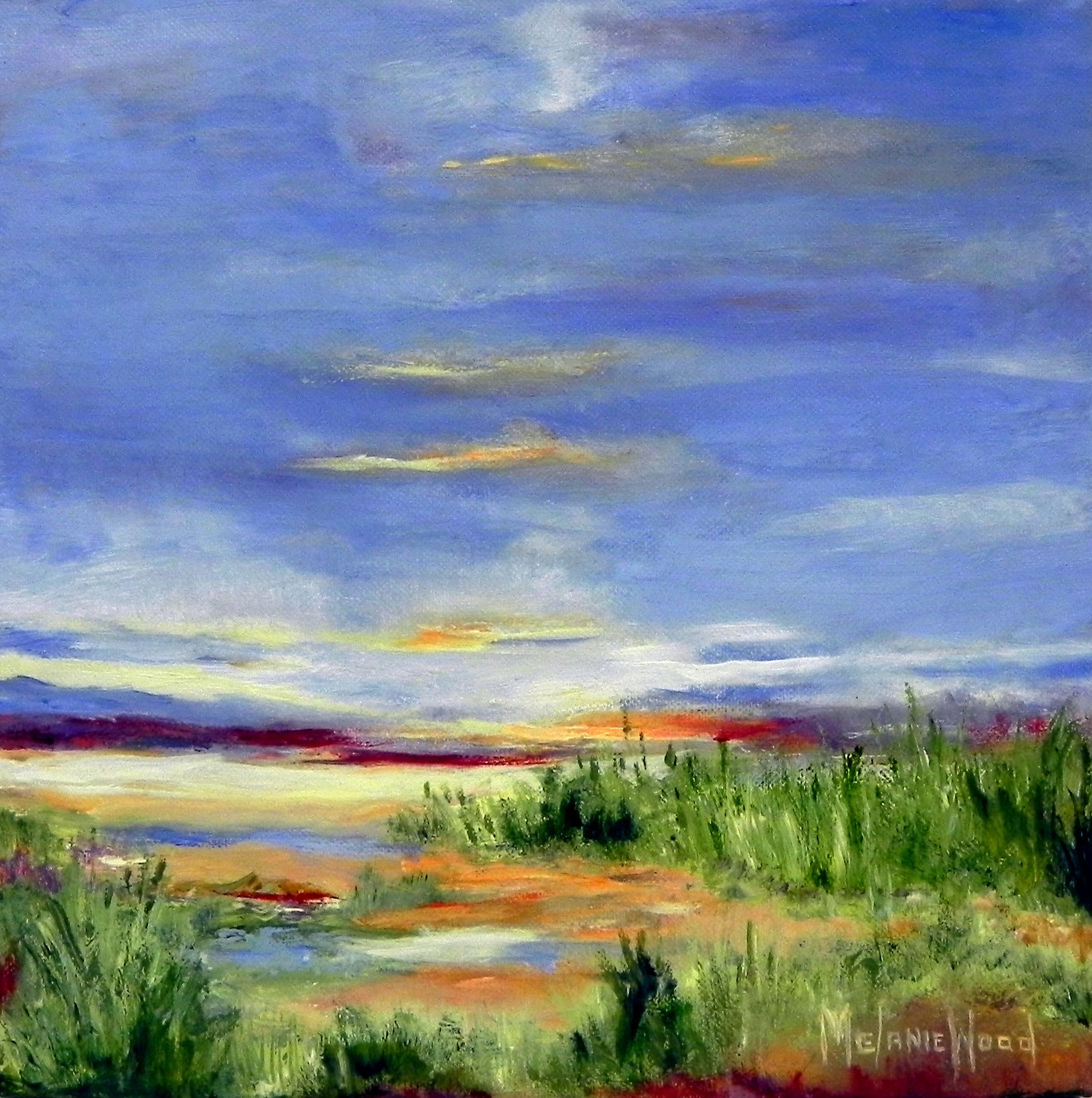 """Marsh In the Glow"" oil painting on canvas by Melanie Wood."