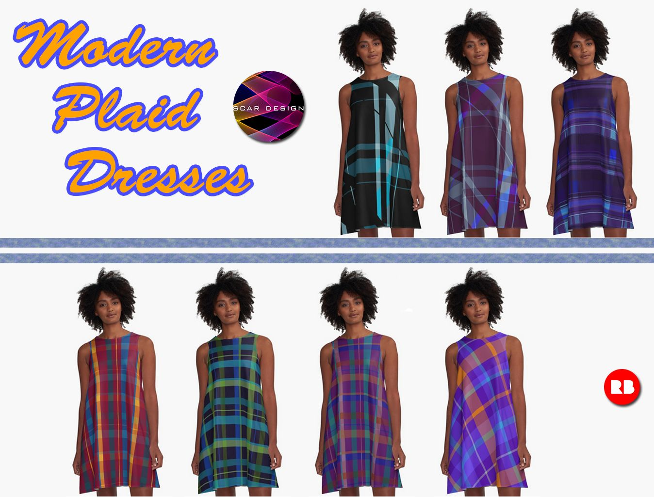 Modern Plaid Dresses by Scar Design  #modern #dress #dresses #moderndress #scardesign #gifts #clothing #buymoderndress #pattern #patterndress #cooldresses #springdress #summerdress #modernspringdress #modernsummerdress #fashion #women #giftsforher #womensfashion #fashiongifts #colorful #style #redbubble #onlineshopping #dots #plaid #buyplaiddress #plaidgifts #plaiddress