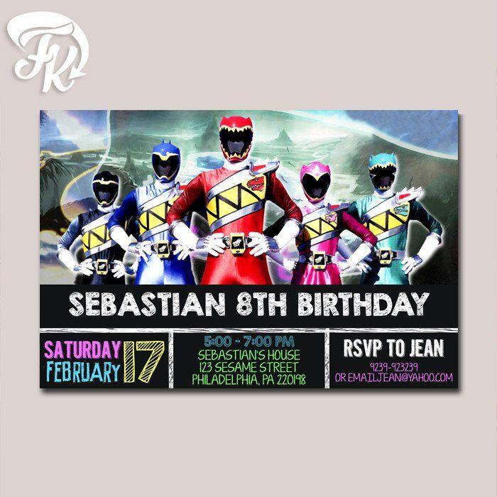 Dino Charge Power Rangers Chalkboard Birthday Party Card Digital – Power Rangers Birthday Invitations