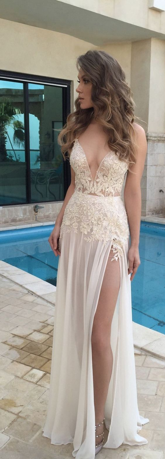 Chiffon lace prom dresses beach wedding dresses sexy wedding