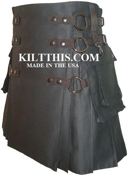 Utility Kilt Handmade n USA w black metals Lg Cargo Pkts Interchangeable Parts. $200.00, via Etsy.