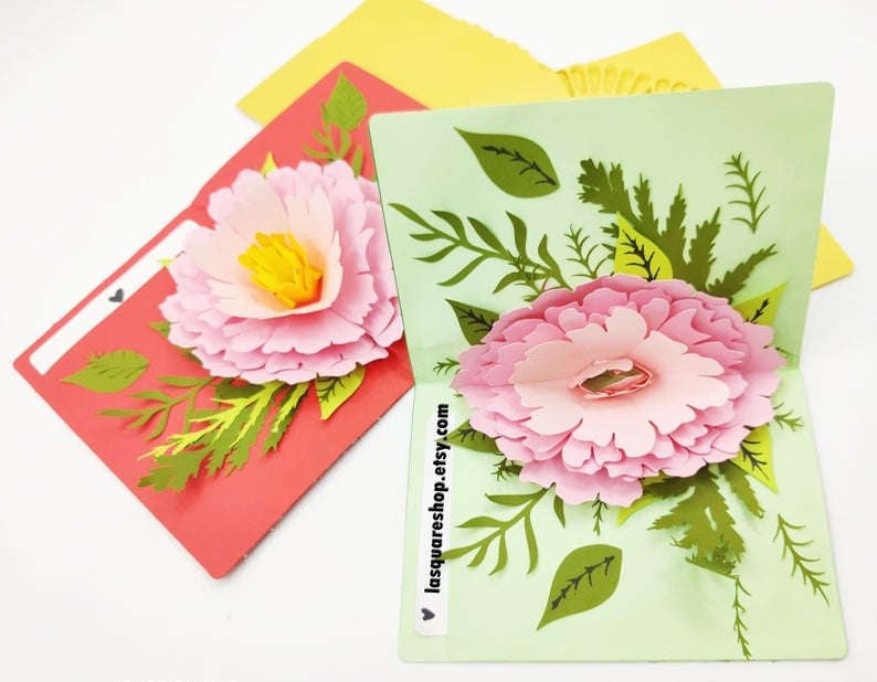 3d Pop Up Greeting Card Diy Flower Pop Up Card Printable 5x7in Christmas Card Svg Valentine Day Card Handmade Birthday Greeting Card Greeting Cards Handmade Paper Flower Template Pop Up Card Templates