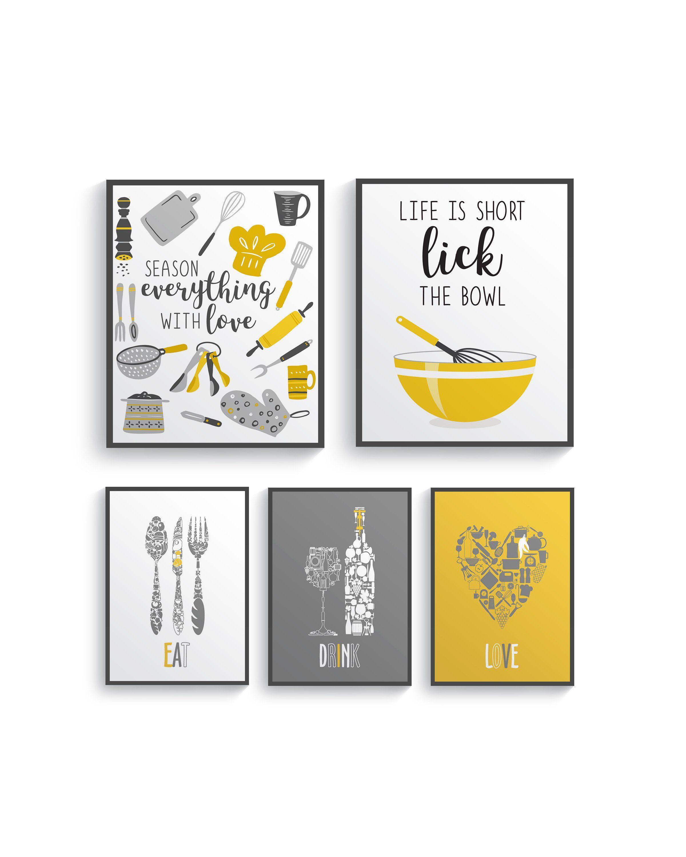 Modern Mustard Yellow Gray Kitchen Wall Decor Yellow Kitchen Etsy Grey Kitchen Walls Grey Yellow Kitchen Grey Wall Decor