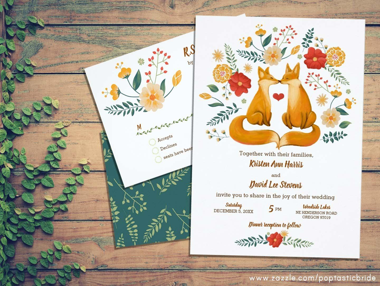 fox wedding theme invitations fox couple art foxes wedding