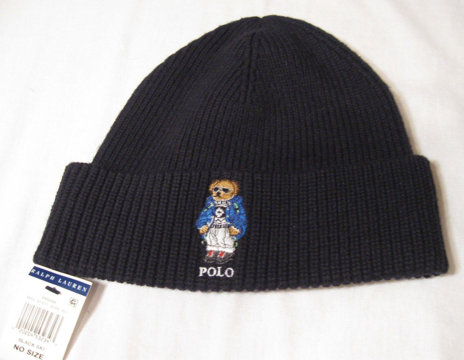 Polo Ralph Lauren POLO BEAR Knit Cuffed Hat NWT Black 2b20d790695