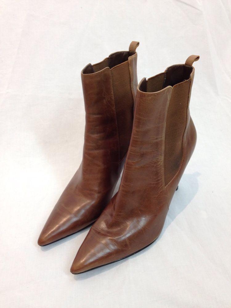 Lauren Ralph Lauren Womens Size 7.5 Brown Leather Ankle Boots Short Booties #LaurenRalphLauren #FashionAnkle