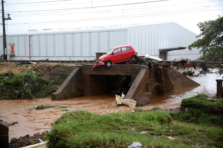 Storm damage in Isipingo, south of Durban on October 10, 2017.