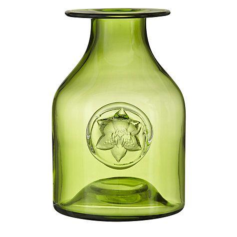 Dartington Crystal Lily Flower Bottle Vase Green H18cm Flower Bottle Bottle Vase Dartington