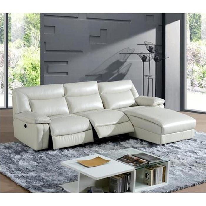 3 Piece Leather Reclining Sectional in f White