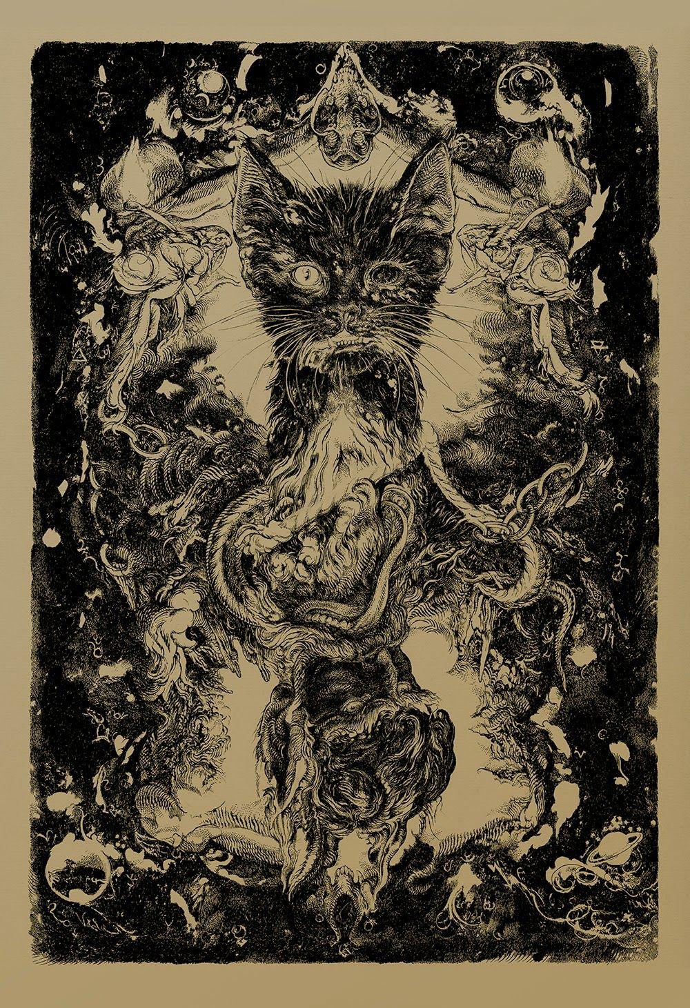 vania cat zouravliov dark cool poe edgar dragon allan prints artwork poster release decay artist cats grey watercolor press