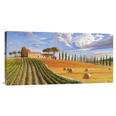 """Global Gallery 'Colline Toscane' by Adriano Galasso Painting Print on Wrapped Canvas Size: 18"""" H x 36"""" W x 1.5"""" D"""