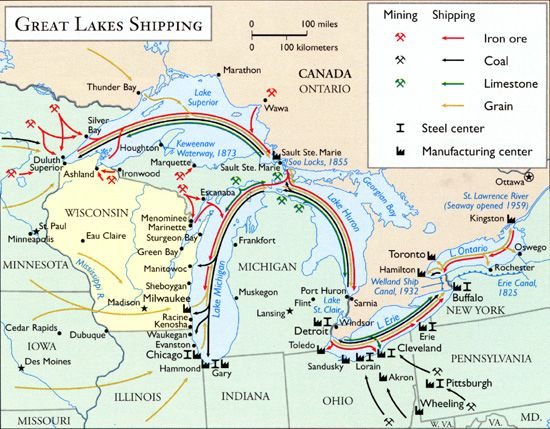 A map of Great Lakes shipping routes during the mid20th century