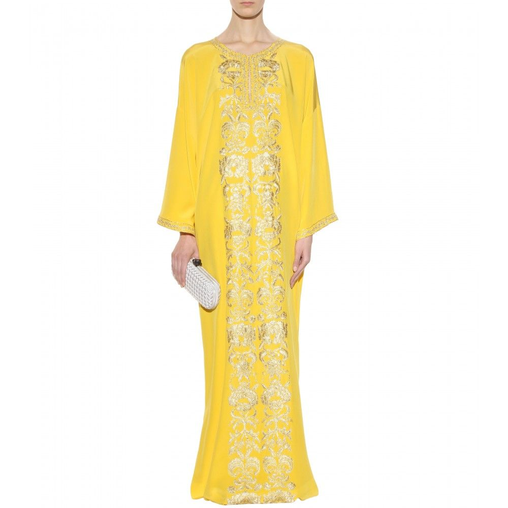 Mytheresa embroidered silk kaftan gowns dresses clothing