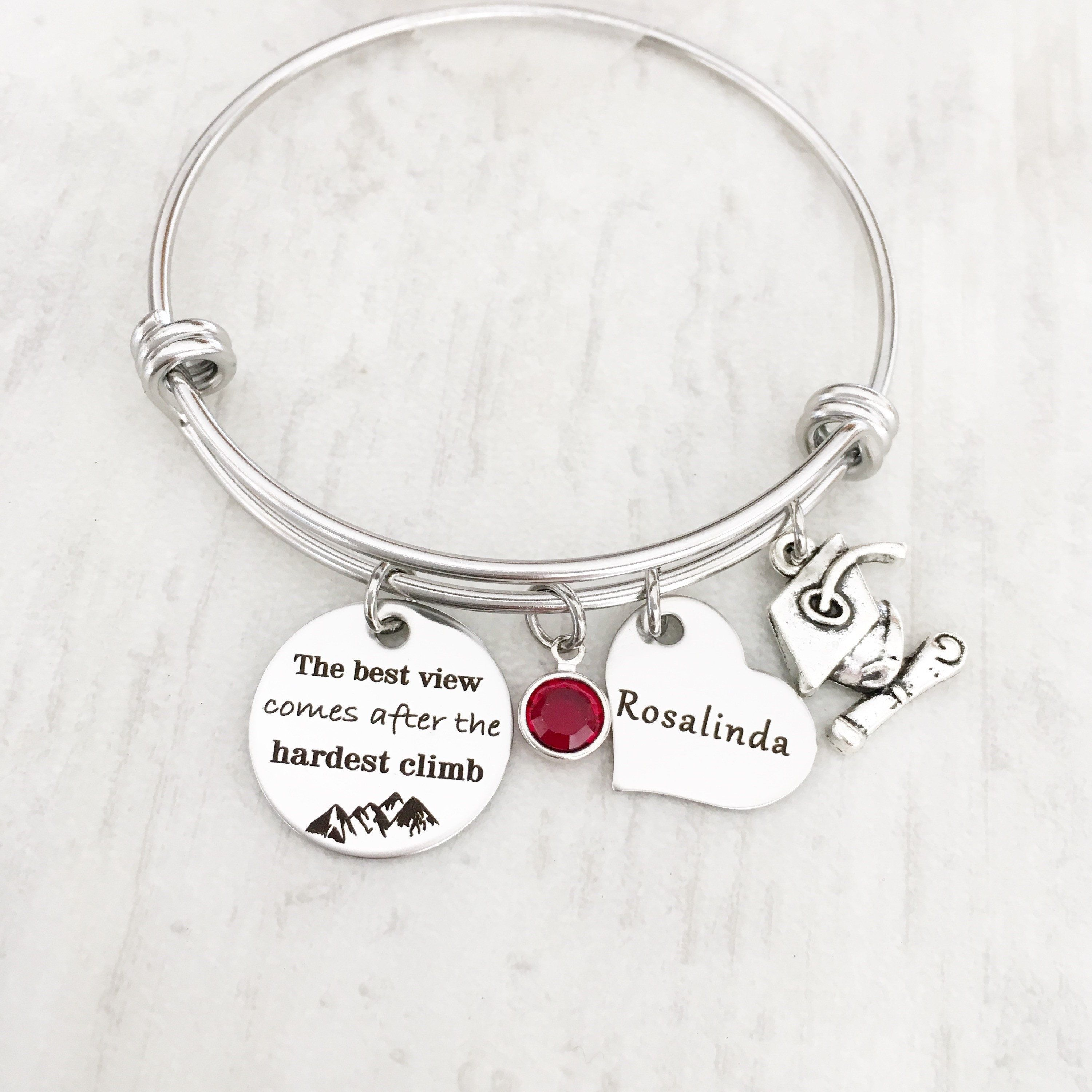 2018 Graduating Gift For Her Personalized Graduation Inspirational High School And College Bracelet