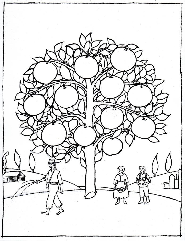 Johnny Appleseed Coloring Pages Tree Coloring Page Bee Coloring