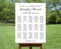 Printable Large Wedding Seating Chart Black White Reception Sign Find Your Seat