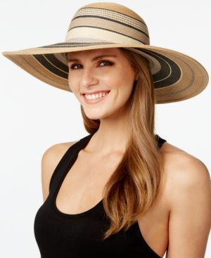Vince Camuto Striped Floppy Hat - Tan/Beige