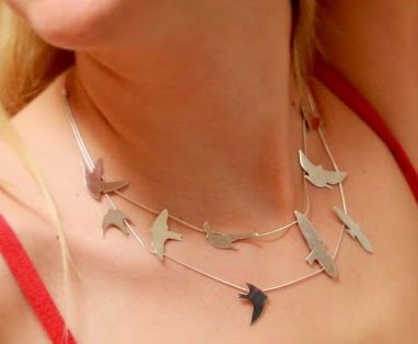 Silver Birds necklace by Minicsiga on Etsy