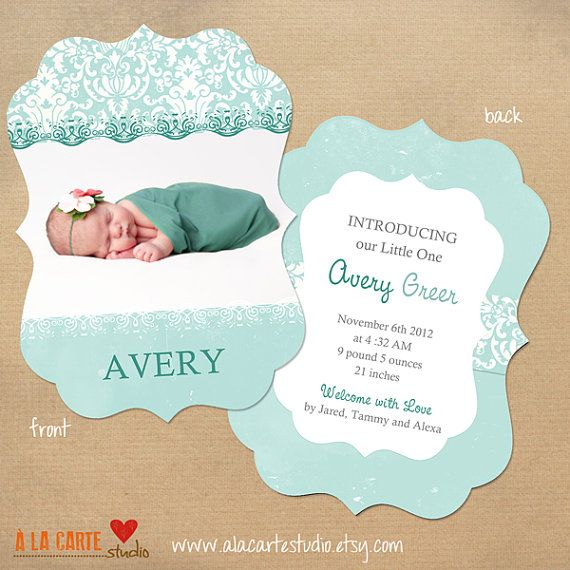 Avery Ornate Birth Announcement Card by alacartestudio on Etsy - birth announcement template