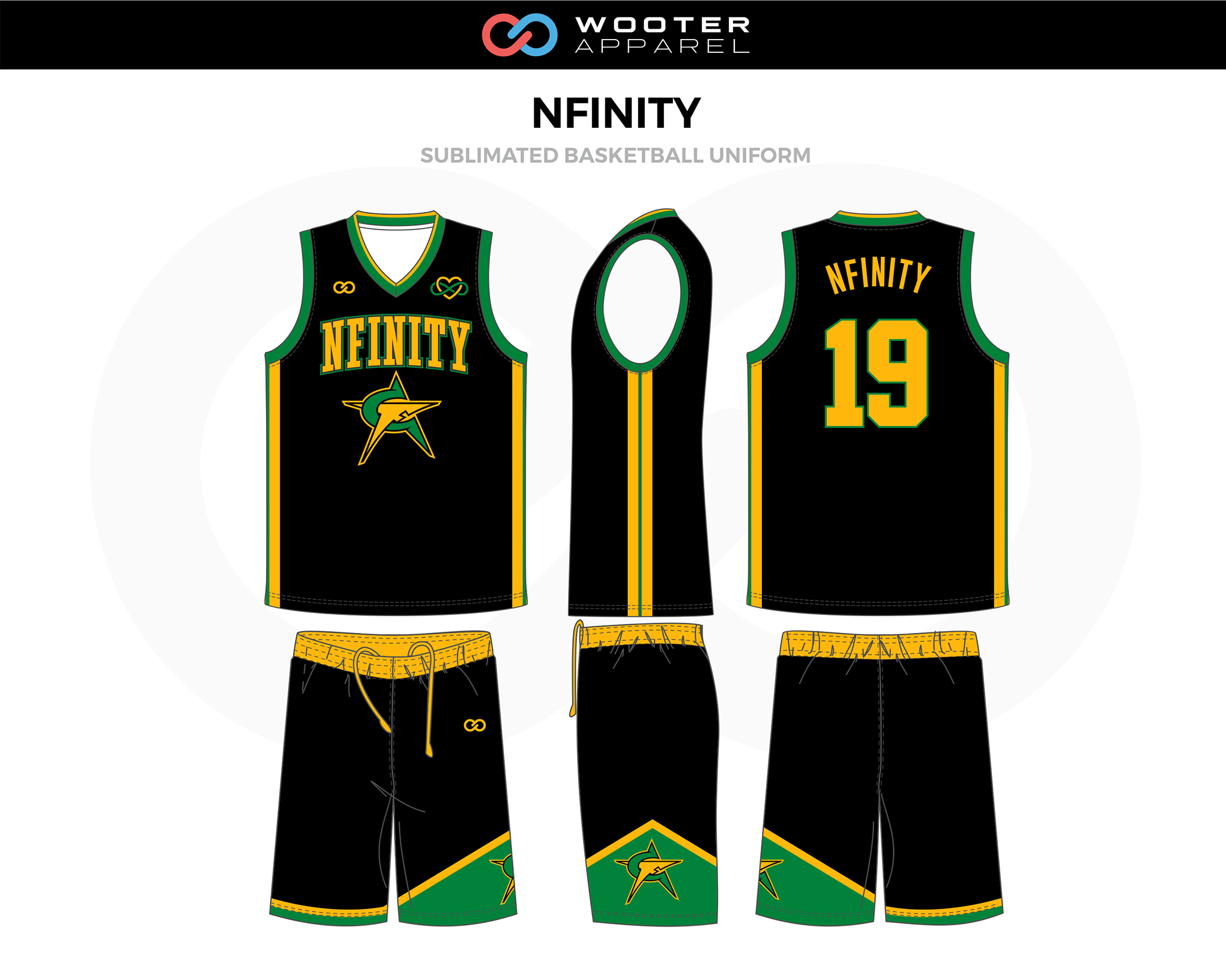 Nfinity Black Yellow Green Custom Basketball Uniforms Jerseys Shorts Basketball Uniforms Design Custom Basketball Uniforms Basketball Uniforms
