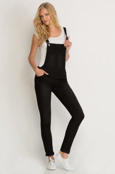 ORSAY JEANS   Skinny dungarees in black #mywork #fashiondesigner #denim #ootd