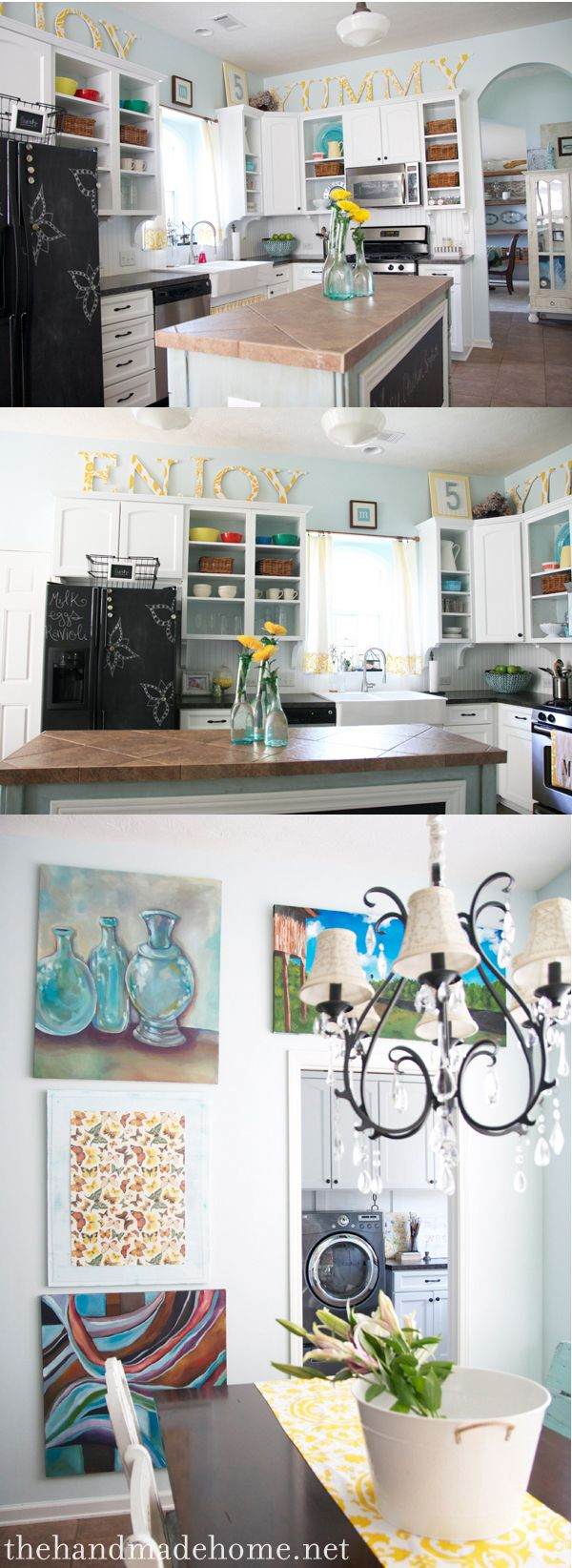 Cute big letters above kitchen cabinets to take up space!