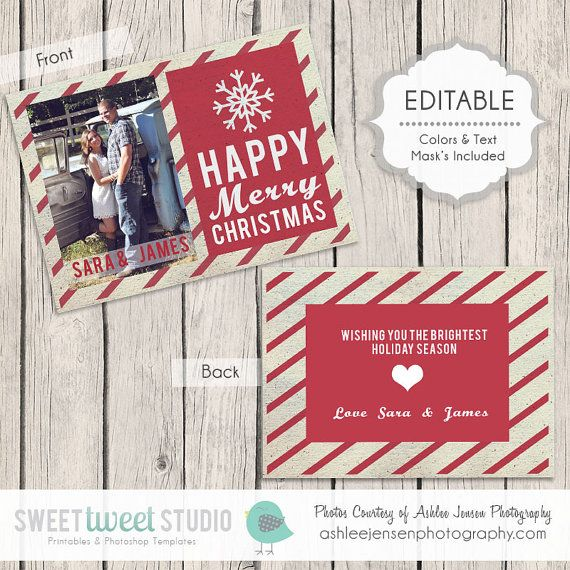 #Photoshop #Template and #Printable Sweet #Holiday #Card by SweetTweetStudio, $3.75
