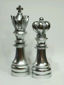 Chess Decorative Pieces King Queen Collectible Library Silver Art