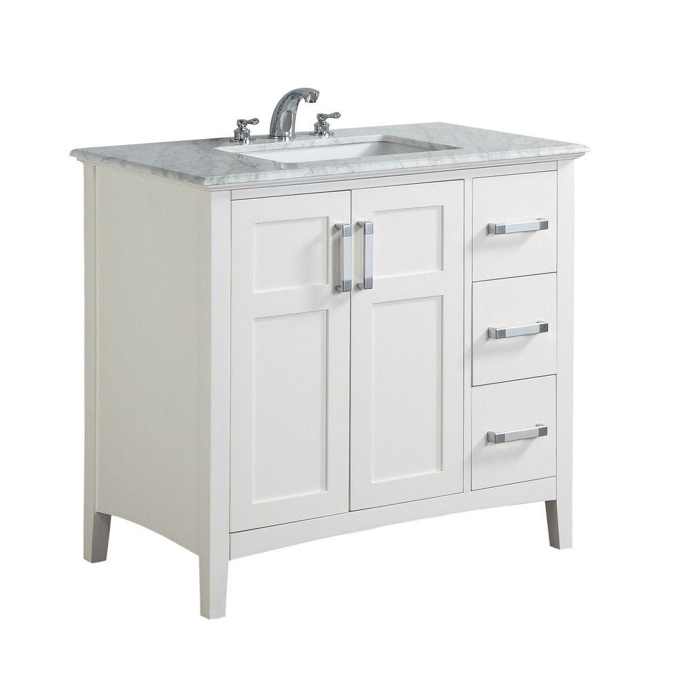 Best Wyndenhall Salem 36 Inch White Quartz Marble Top Single 400 x 300