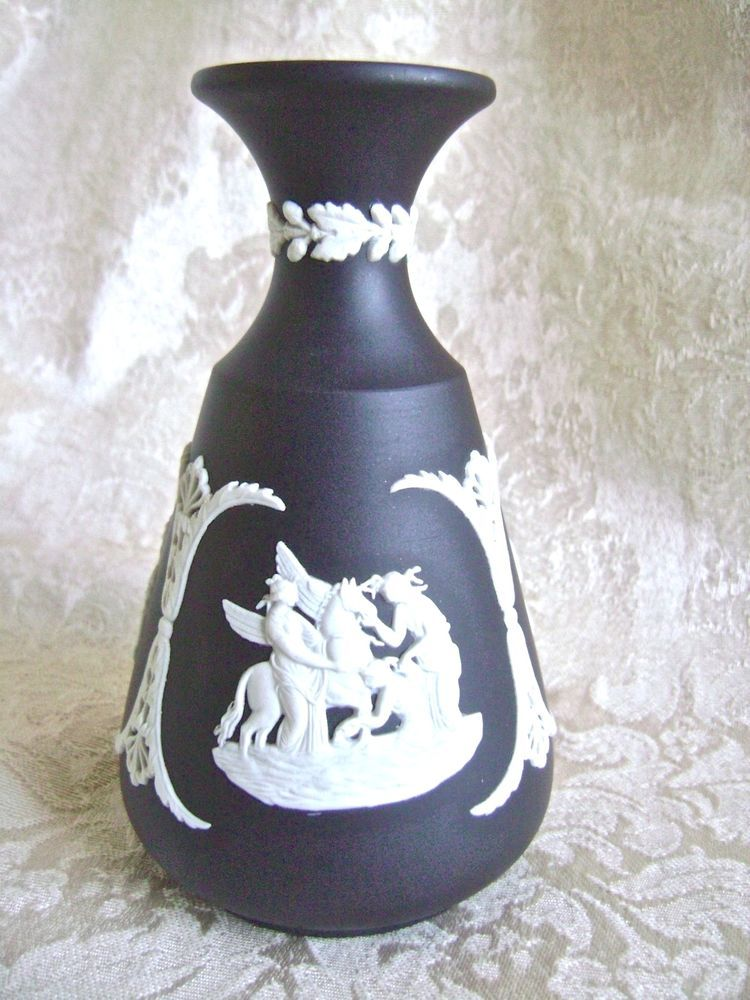 Lovely Wedgwood Black Jasperware Cameo Bud Vase Wedgwood