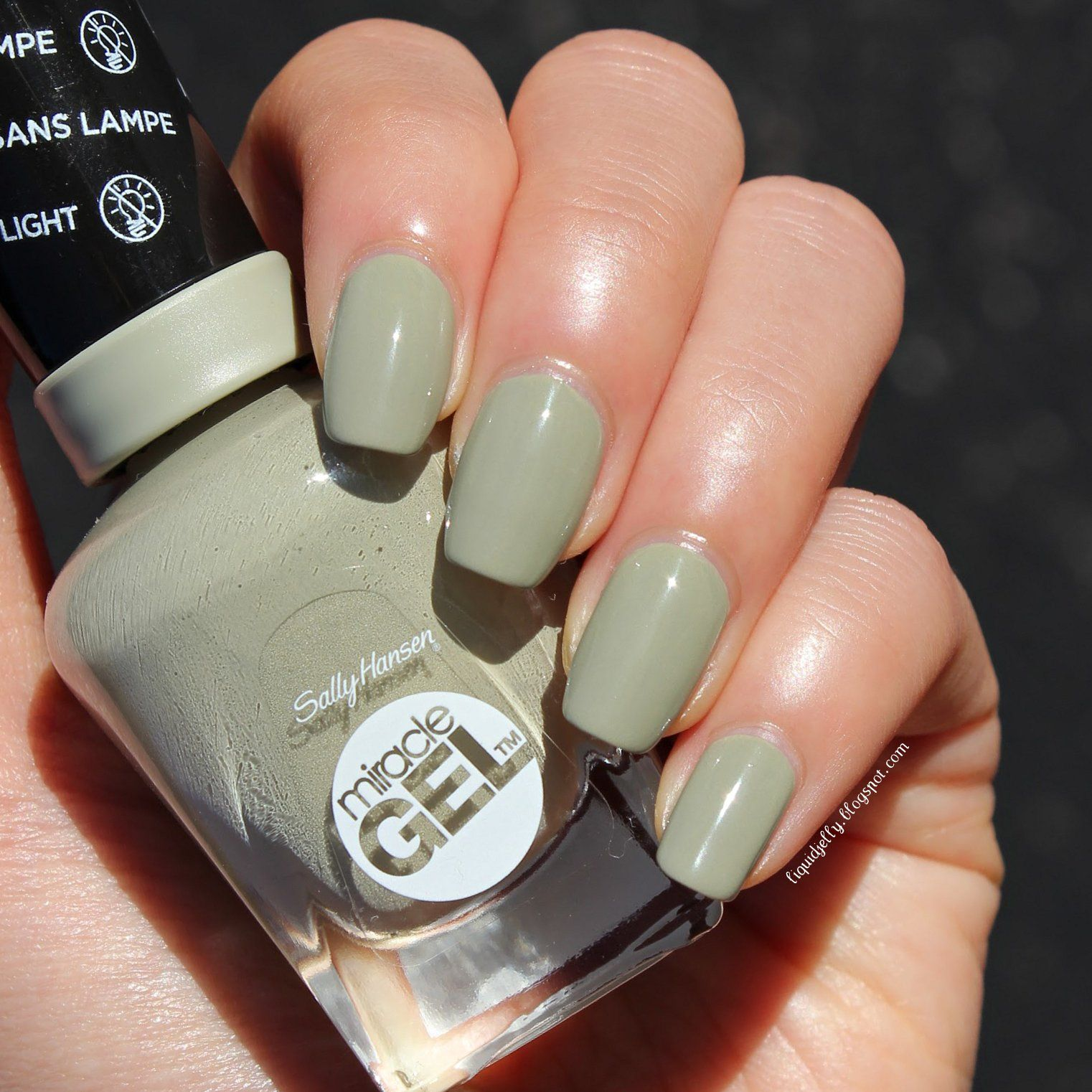 Queen Gel Nail Polish: Camo Queen, 2 Coats: Light Olive-grey Creme, Sally Hansen