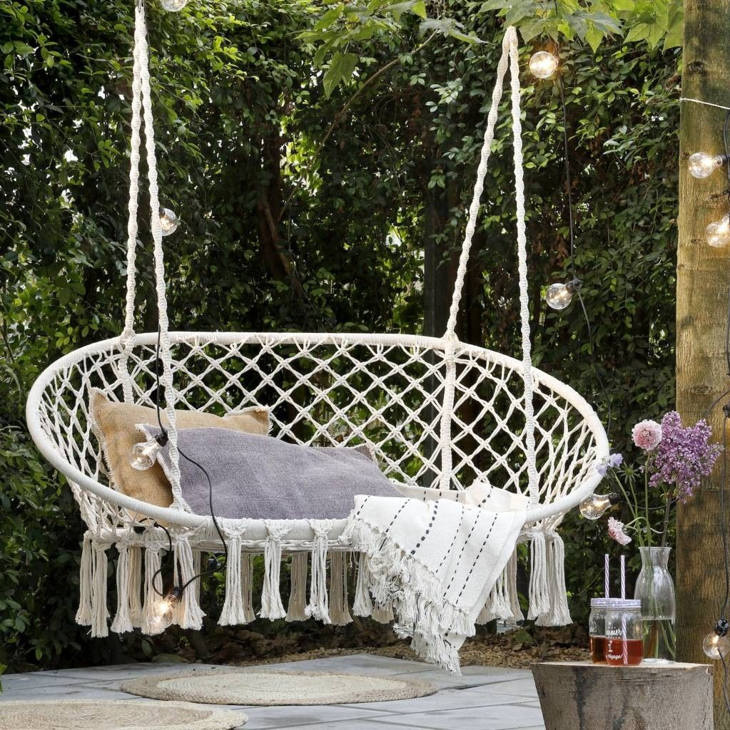 Pleasing Cream Macrame Double Hanging Seat In 2019 Hanging Chair Pabps2019 Chair Design Images Pabps2019Com