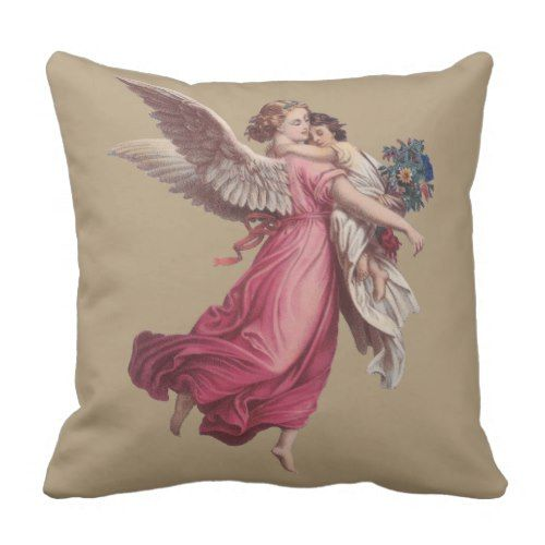 Vintage Christmas Victorian Guardian Angel Throw Pillow Zazzle Com Victorian Angels Pillows Throw Pillows