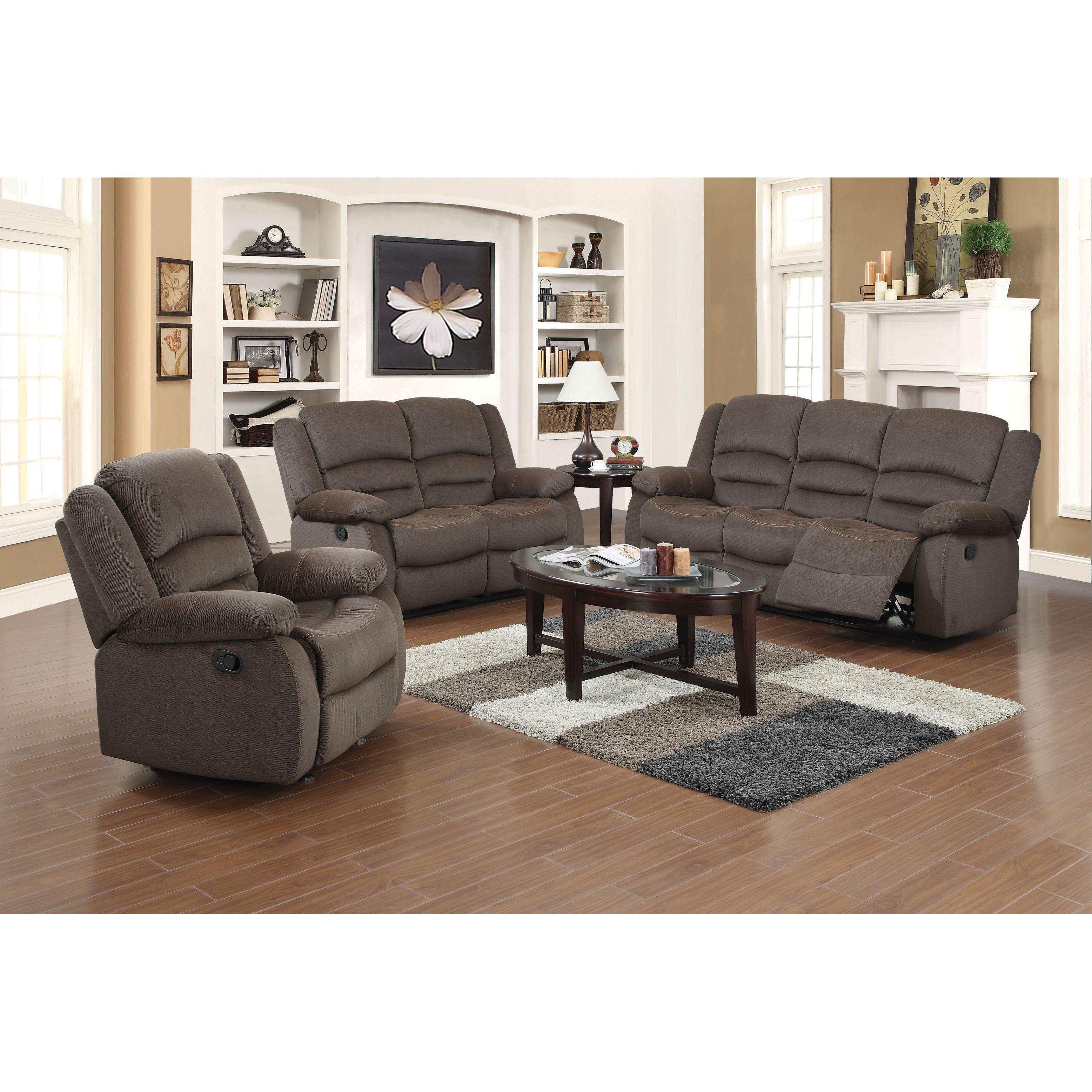 Us Pride Furniture Dallas 3 Piece Fabric Reclining Sofa Set Chocolate Brown