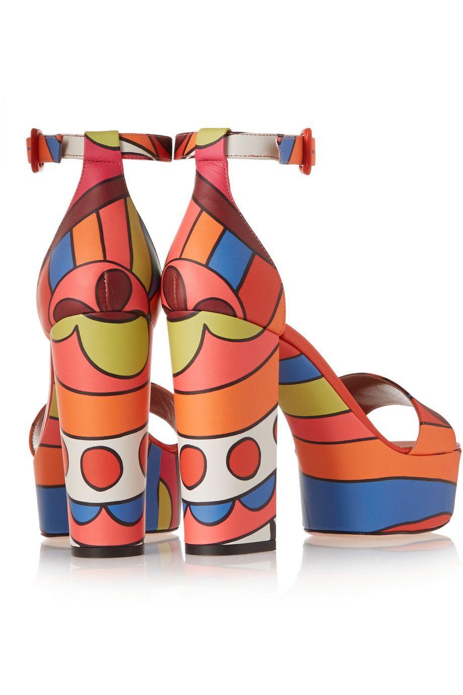 REDValentino|Printed leather sandals|NET-A-PORTER.COM