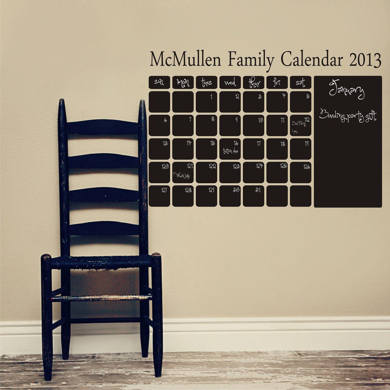 Chalkboard Family Calendar Vinyl Family Name Title Line