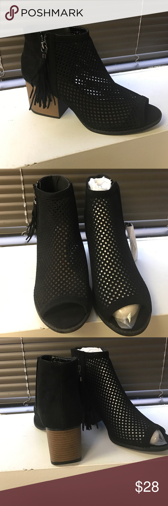 NWT • Black Mesh Suede Like Booties New never worn- excellent condition. Black mesh lower stacked heel ( about 2 inches) side zipper. Qupid Shoes Ankle Boots & Booties